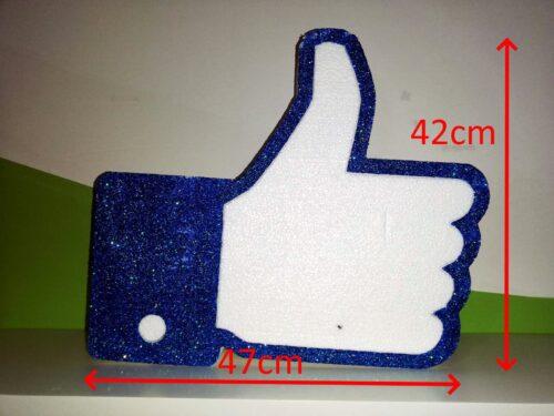 Simbolo Like FB Polistirolo per eventi, compleanni o scenografie glitterato blu con larghezza 47cm altezza 41cm profondità da 5cm o 10cm