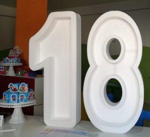 Clicca sull'immagine per la visualizzazione estesa Maxi Lettera o Numero in Polistirolo personalizzato porta palloncini per compleanni o eventi da 100cm di altezza x 50cm di larghezza a partire da 8cm spessore.