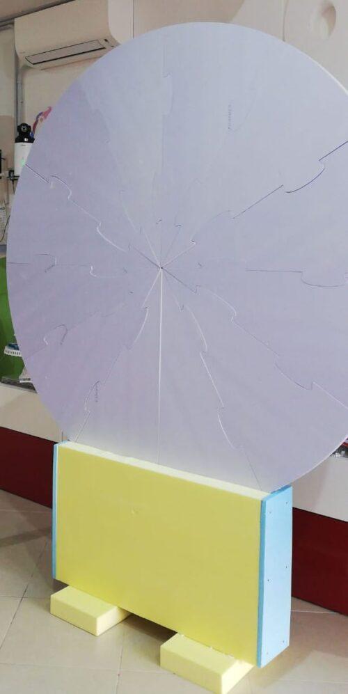 BackDrop per allestimenti e scenografie di eventi unici, smontabile e trasportabile anche in auto diametro 180cm in polistirolo xps ad altissima densità.