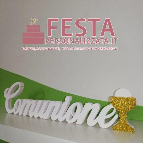 """Scritta """"COMUNIONE"""" in polistirolo HD con calice glitter coprente ORO per prime comunioni"""