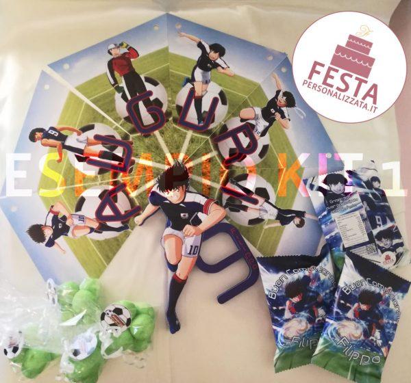 Esempio Kit Festa 1 - Capitan Tsubasa per Filippo con Striscione con Auguri, Mashmallow, Patatine personalizzate e sagoma in polistirolo stampato