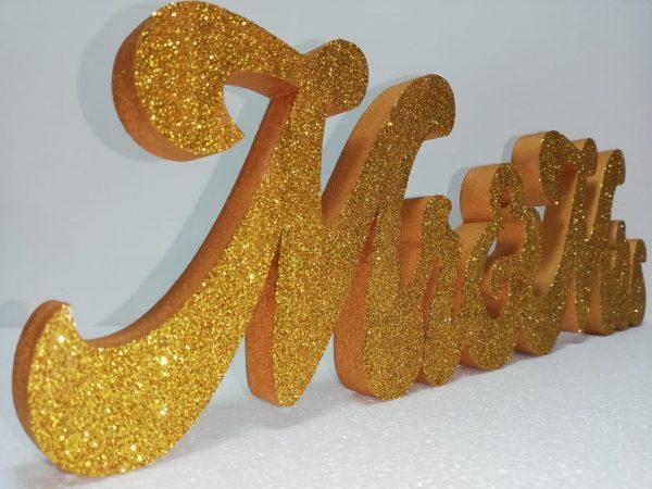 Scritta Mr&Mrs colore oro con glitter coprente oro o rose-gold