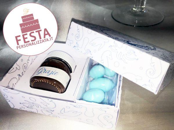 Bomboniera comunione personalizzata con nutellina , confetti e box a tema