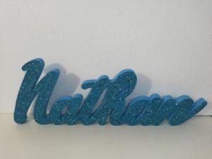Scritta Personalizzata in Polistirolo XPS - Colore : Celeste - Glitter : Coprente Celeste
