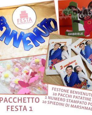 Pacchetto Festa Personalizzata 1 - Festone, patatine, marshmallow, numero in polistirolo