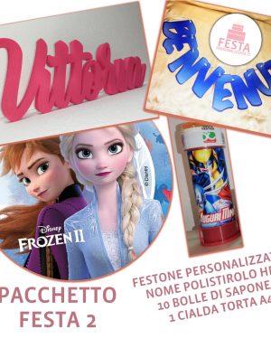 Pacchetto Festa Personalizzata 2 - Festone, nome in polistirolo, bolle di sapone, cialda torta ostia