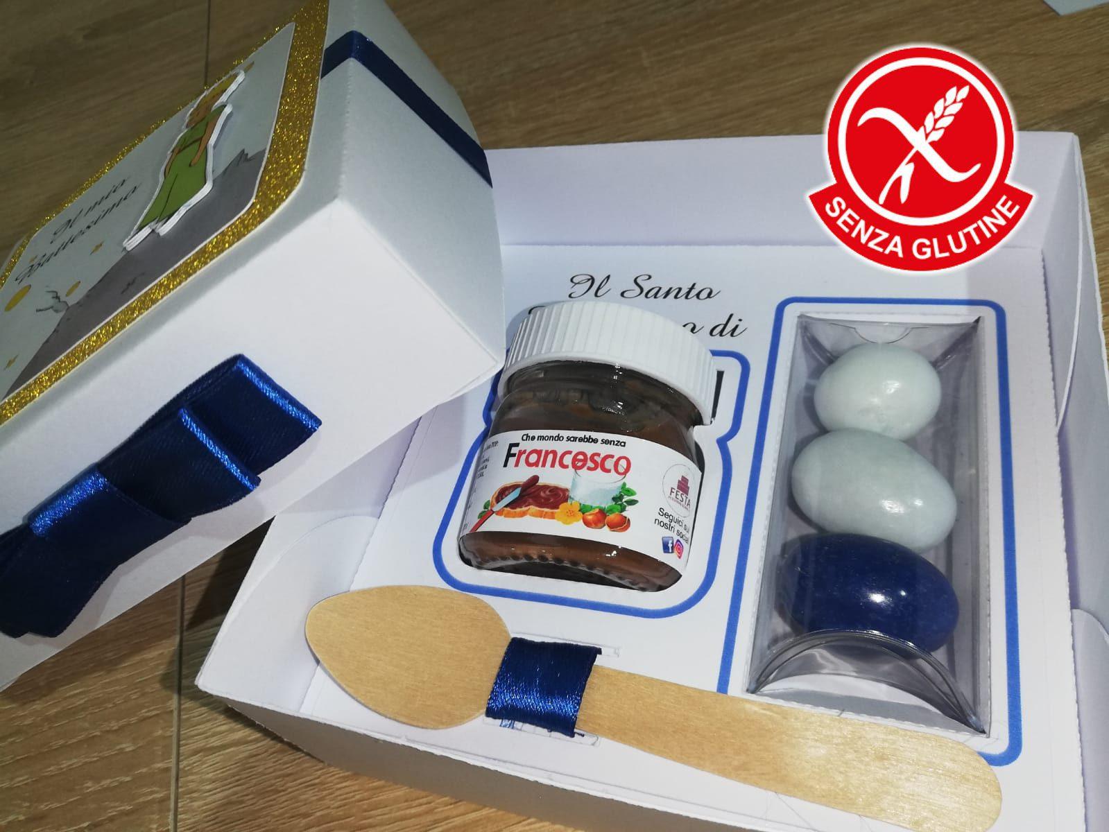 Nutellina + confetti + Cucchiaino + scatola personalizzata